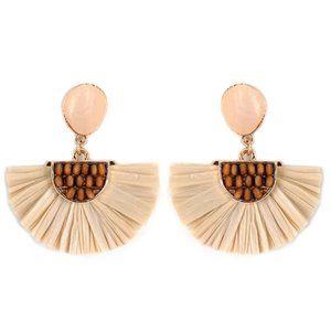 2/$30  Natural Shell Wood Bead Raffia Fan Earrings